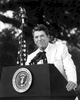 Photo of President Ronald Reagan as he spoke at a private gathering in Hope Ranch, an exclusive enclave in Santa Barbara, California.