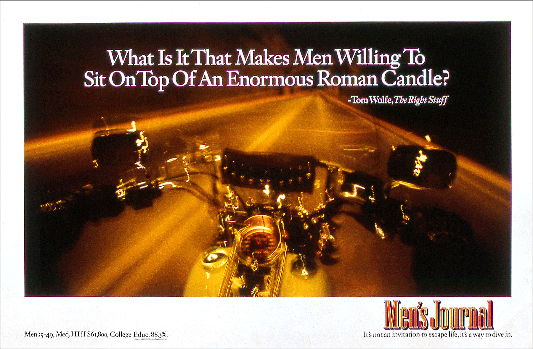 Ad for Men's Journal, aboard a Harley in a tunnel outside Cody, Wyoming.