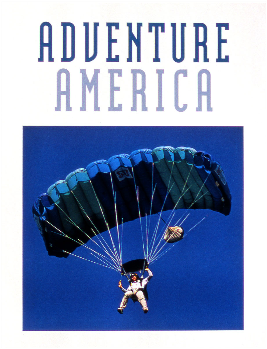 "Parachuting for the National Geographic book, ""Adventure America,"" in Lompoc, California, near Vandenberg Air Force Base."