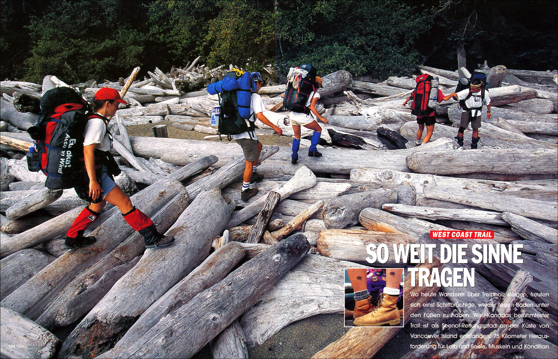 Hikers traverse mammoth driftwood logs along the famed West Coast Trail, a treacherous 77-kilometer trail that is as difficult as it is beautiful; on Vancouver Island, British Columbia.(for GEO magazine).