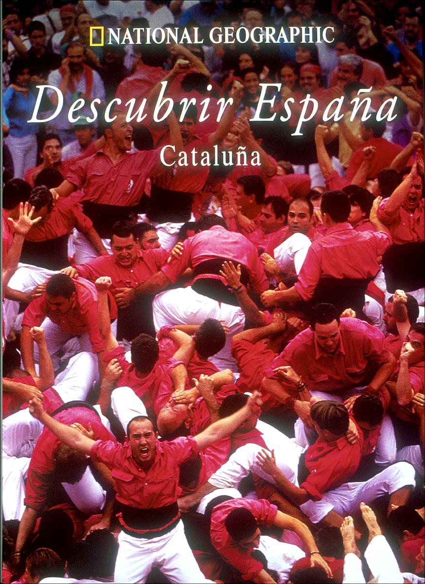 "Cover photo of a large group of jubilant men in Tarragona, Spain, who had just collapsed after successfully constructing a ""human tower"" that stood nine levels high-a rare accomplishment in this highly competitive national pastime.(for the National Geographic book, ""Descubrir España: Cataluña,"" or, ""Discover Spain: Cataluña"")"