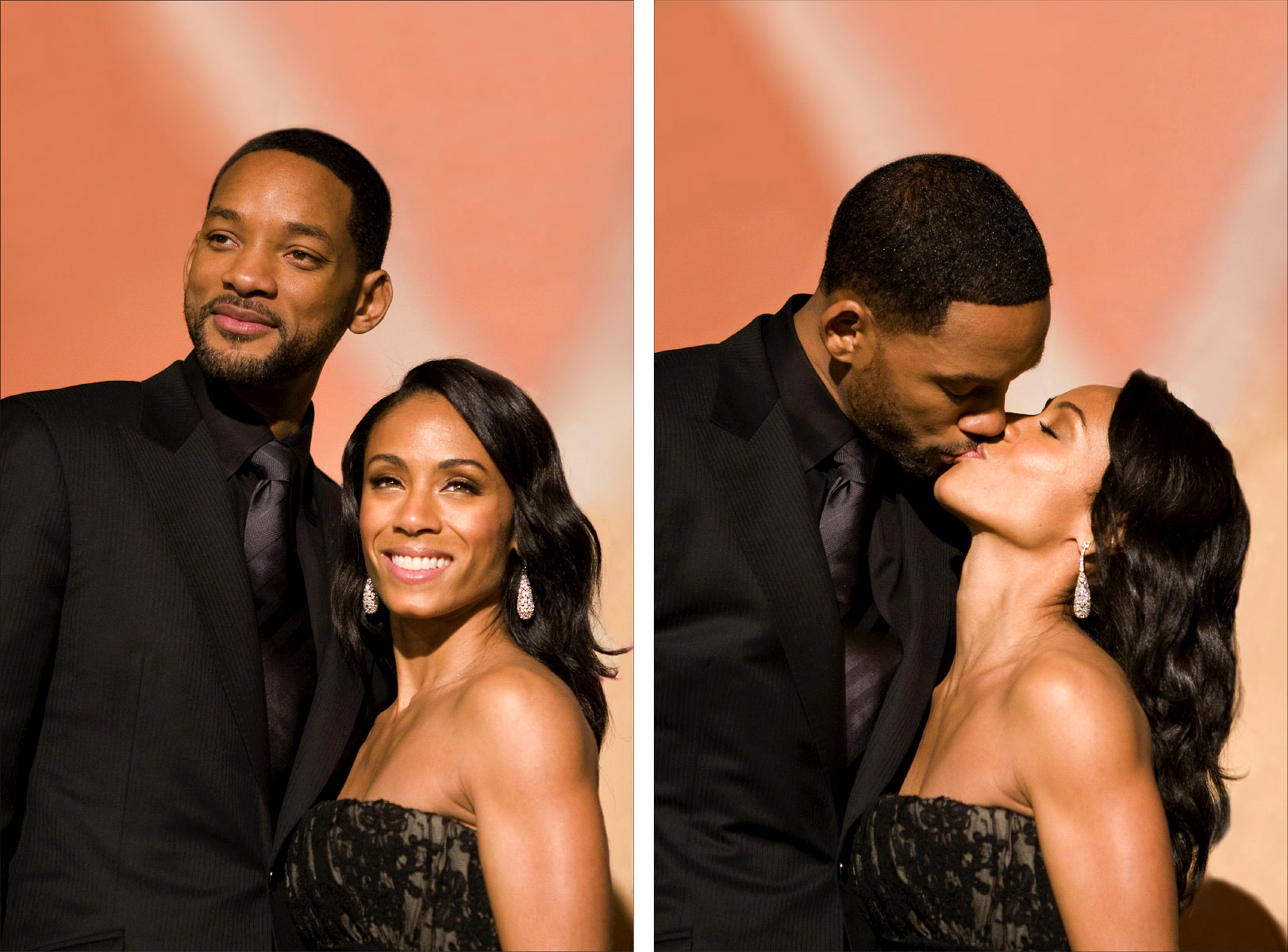 Acting legend Will Smith and wife Jada Pinkett Smith pause for love during the Santa Barbara International Film Festival.(for The New Yorker)