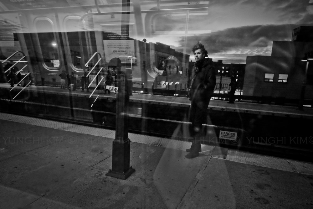 Q subway train leaving Coney Island. Yunghi Kim ©2014.