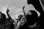 Tampa Florida, Protest at the Republic National Convention,. Protesters using black bloc tactics, some are anarchists.