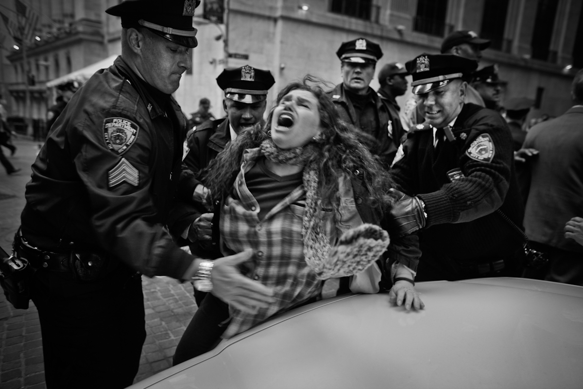 Occupy Wall Street protest, Wall Street, NYC 2012. ©2017 Yunghi Kim/ Contact Press Images