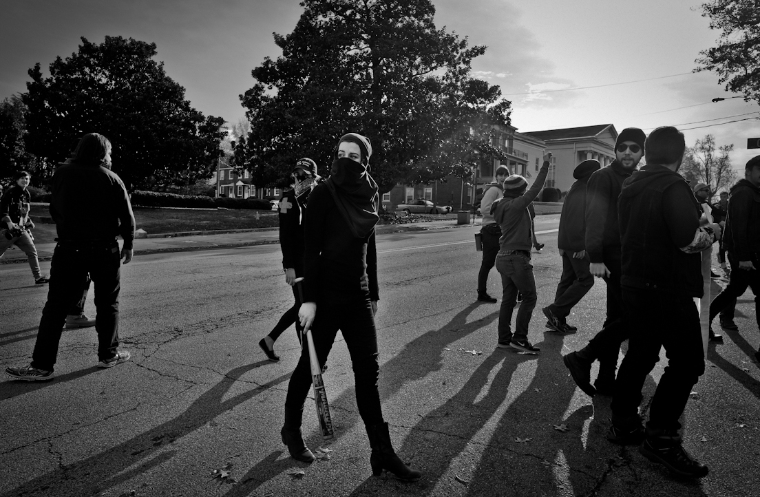 North Carolina - Black Bloc's counter protest to possible KKK, 2017.  ©2017 Yunghi Kim/ Contact Press Images