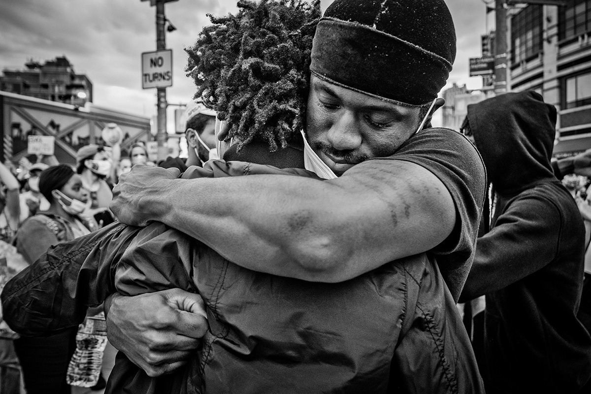 6/2/20 Barclays Center, Downtown Brooklyn.   Protests  against the the death of George Floyd, a black man who was killed in Minneapolis police custody on May 25.  GarySpringer 23 years old from Brooklyn emotion at the end of the protest. Photo by Yunghi Kim/ Contact Press Images