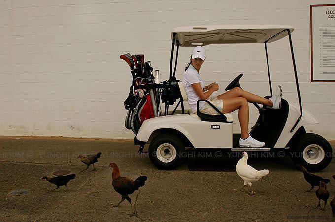 Michelle Wie, 16 years old, LPGA golfer before practice.