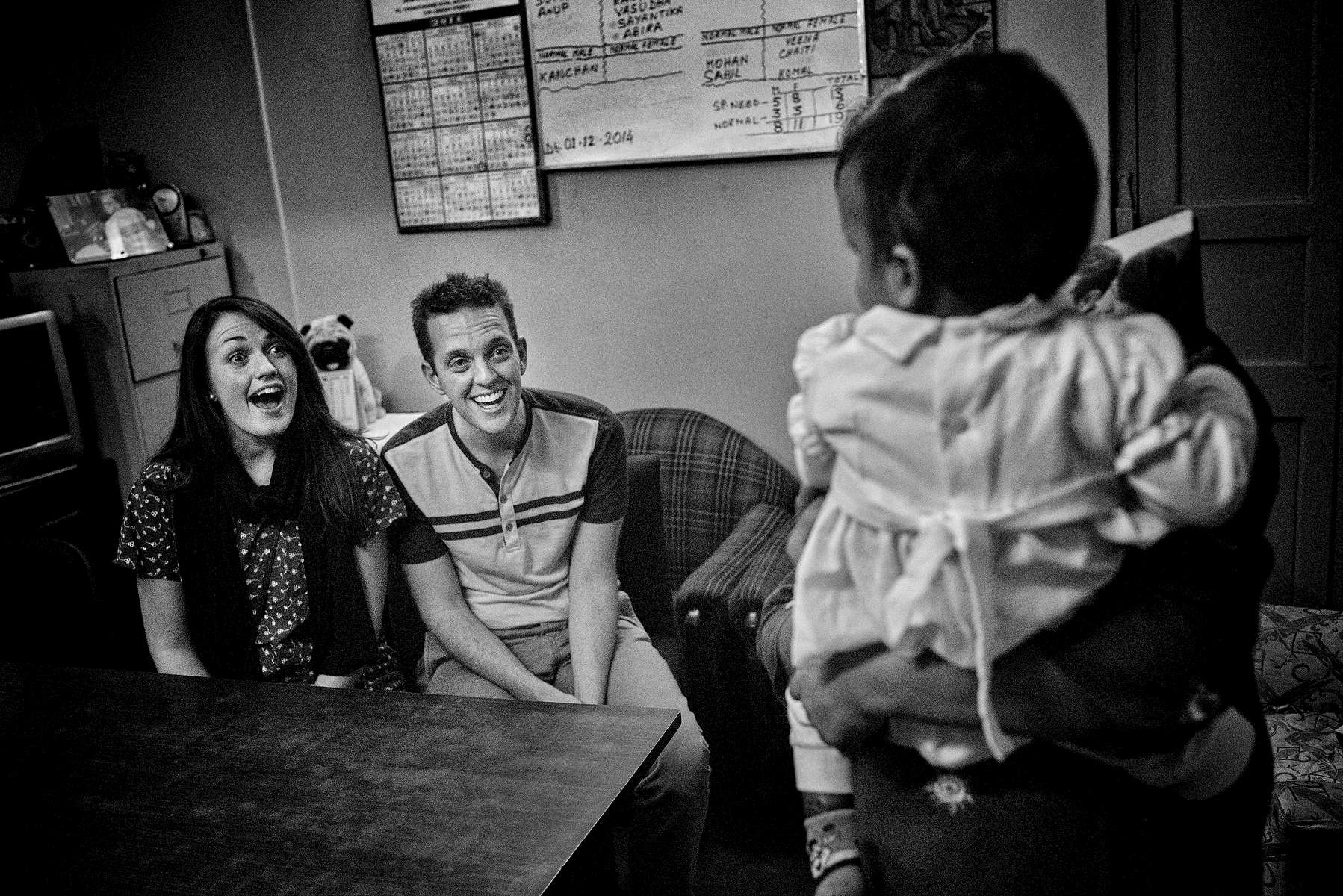 Jessica and Robby Followell pick up their daughter Eden Kaveri at the orphanage in Kolkata, India.