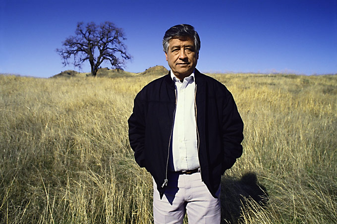 Mexican American Cesear Chavez, photographed near his home in Delano, CA.  He was dedicated to reforming the working conditions of the farmworkers in the United States.  In no year of his life did he make more than $5000.