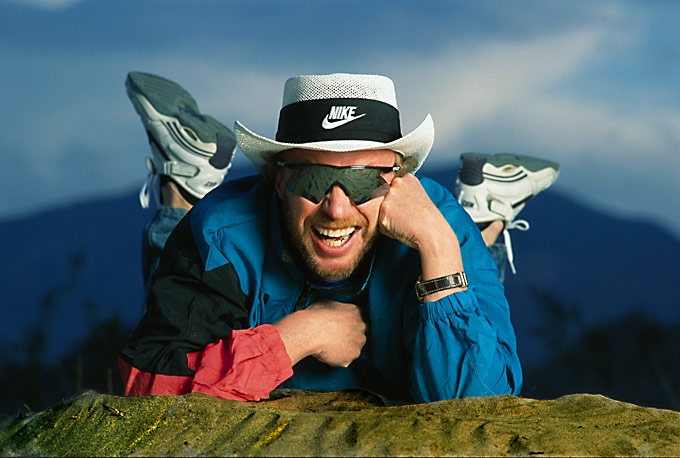 Founded Nike.It was 113 degreeswhen we shot this.Lying down was about allwe could manage.