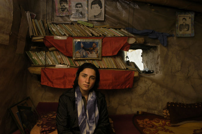 The Iranian-Kurdish wife of Osman Ocalan, a leader of the PKK Kurdish separatist group, at a camp hidden in the mountains of northern Iraq. The outlawed PKK advocates an independent Kurdish homeland.