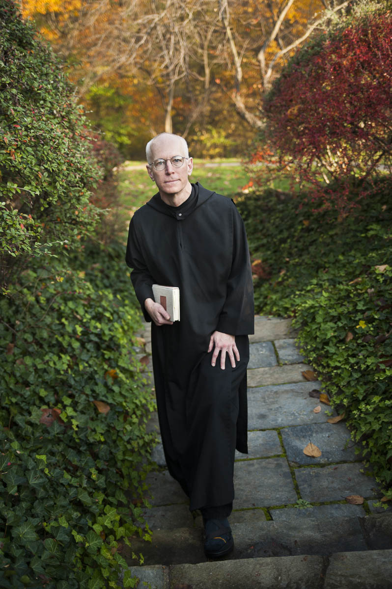 Father Columba Stewart a Benedictine monk and director of the Hill Museum & Manuscript Library at St. John's University in Minnesota works with a team of people digitizing early Christian manuscripts. He is photographed at Dumbarton Oaks in Georgetown while on a sabbatical. 11/16/2009. ©Vanessa Vick