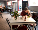 Huw Bower and his son Olly Bower eat breakfast at the Car Wash Café on route 3 in the historic town of Kilmarnock in the northern neck of Virginia. November 2, 2012. Vanessa Vick for The New York Times