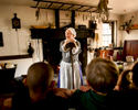 Deborah Lawton a volunteer docent speaks to school children from the Fredericksburg Christian School at George Washington's Birthplace National Monument in Colonial, Virginia. There is a 1930's reproduction of the original house at the site which burned down in 1792. October 25, 2012. Vanessa Vick for The New York Times
