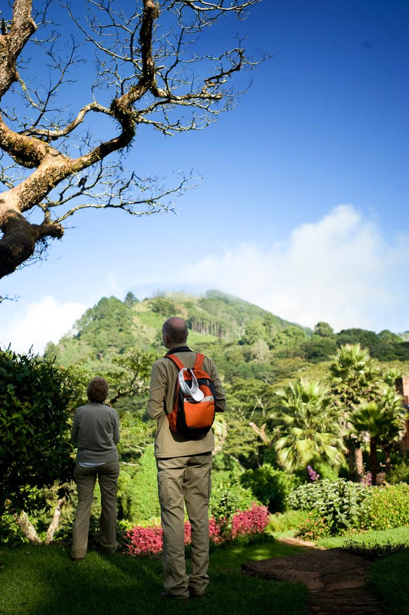 Annie Sevier and Alex Sevier bird watch at Sunbird Ku Chawe Hotel in Zomba, Malawi. 4/8/2009. ©Vanessa Vick