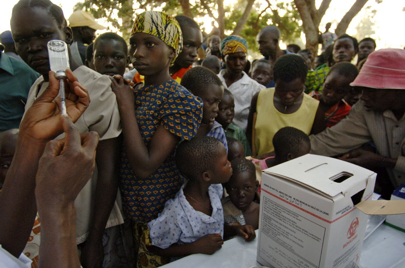 Residents are vaccinated in Dowonga, the mass immunization campaign targets people between two and 30 years of age.