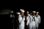 Navy sailors wait to disembark the USS Bataan after arriving in New York City for the start of Fleet Week on Wednesday, May 25, 2016.  Michael Appleton/Mayoral Photography Office