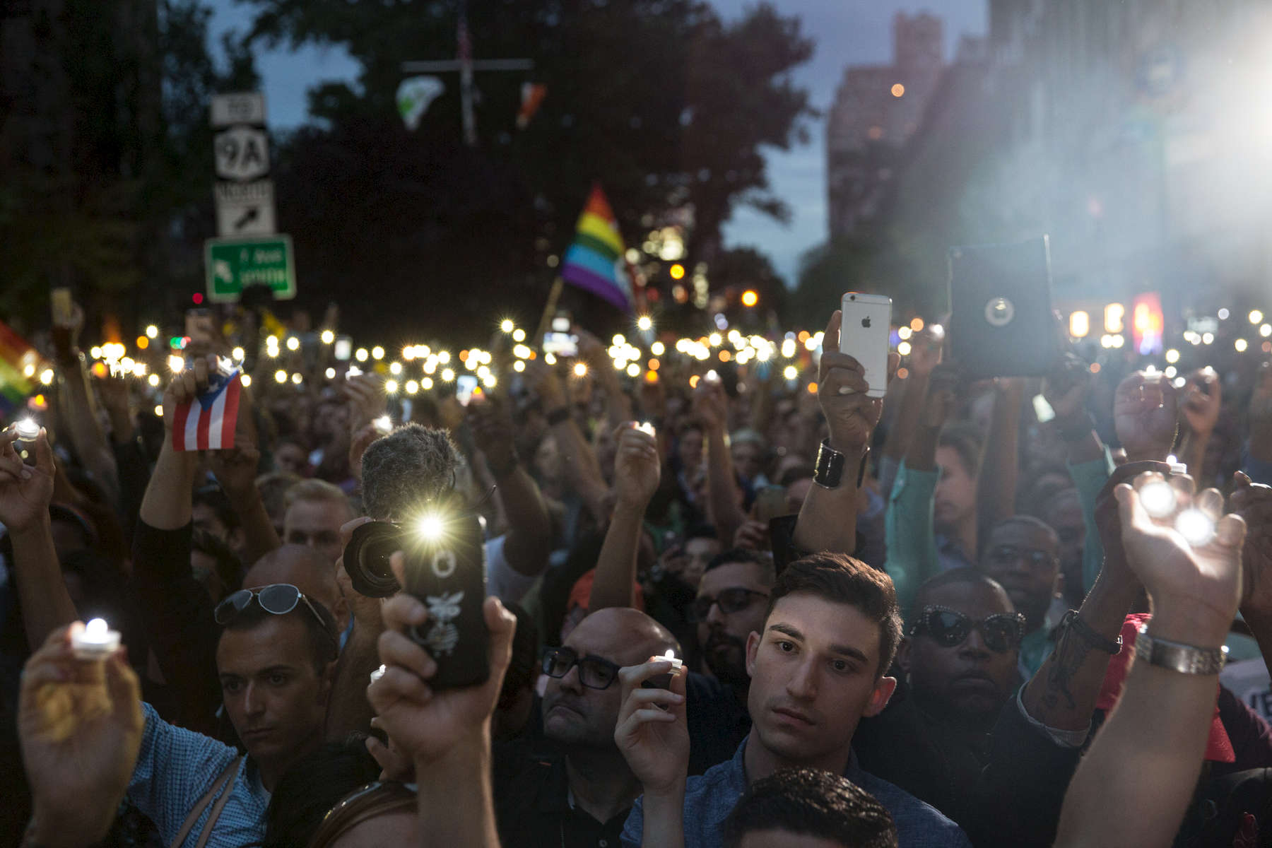 Thousands attend a vigil on Christopher Street outside the Stonewall Inn in Manhattan on Monday, June 13, 2016 in response to the Orlando nightclub mass shooting. Michael Appleton/Mayoral Photography Office