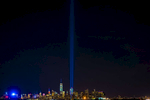 The Tribute in Light, photographed from Staten Island, rises over the Manhattan skyline on the 15th Anniversary of the 9/11 attack on Sunday, September 11, 2016. Michael Appleton/Mayoral Photography Office