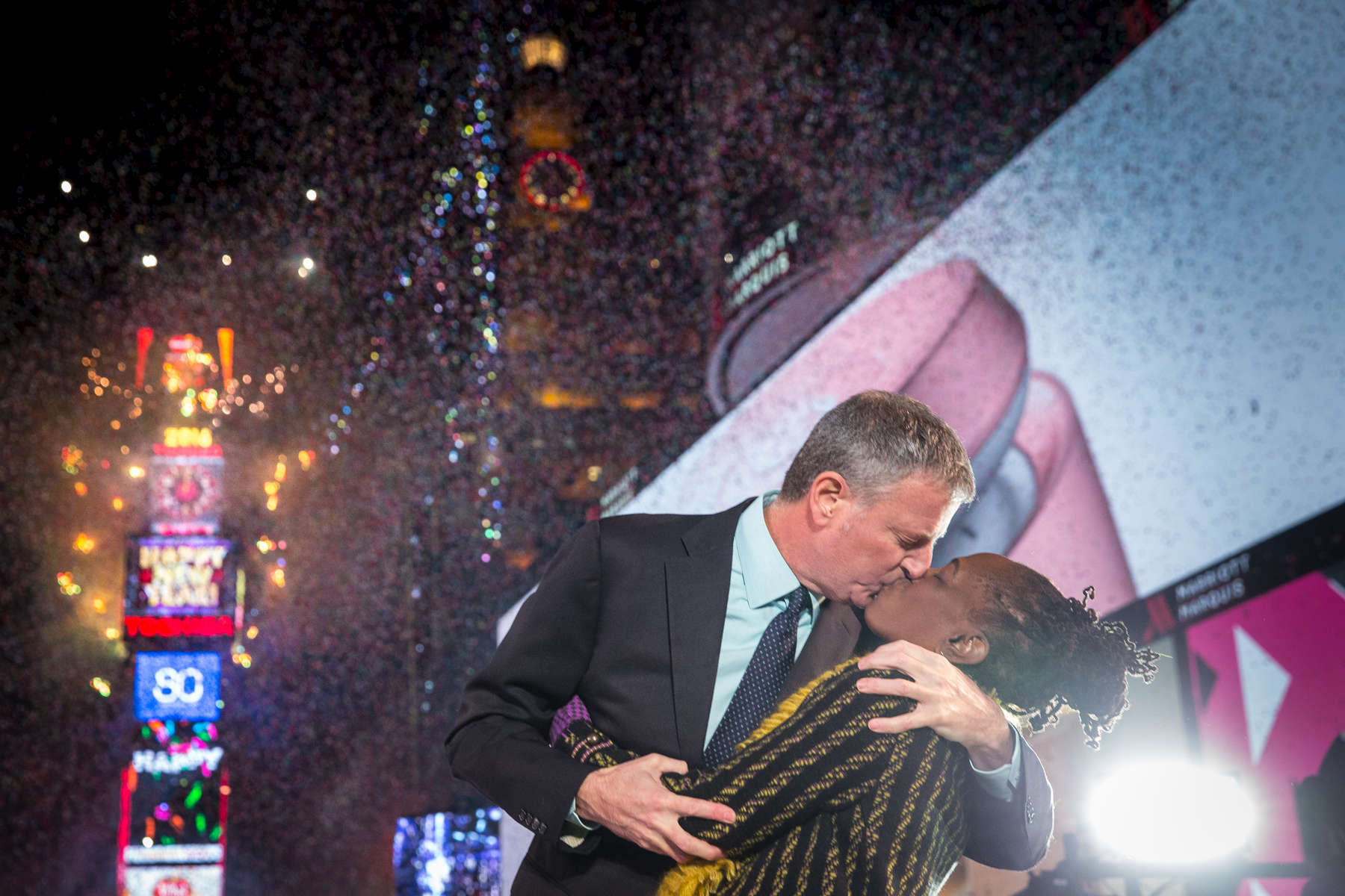 Mayor Bill de Blasio and First Lady Chirlane McCray ring in the New Year with a kiss during the New Year's Eve Ball Drop in Times Square on Friday January 1, 2016. Michael Appleton/Mayoral Photography Office