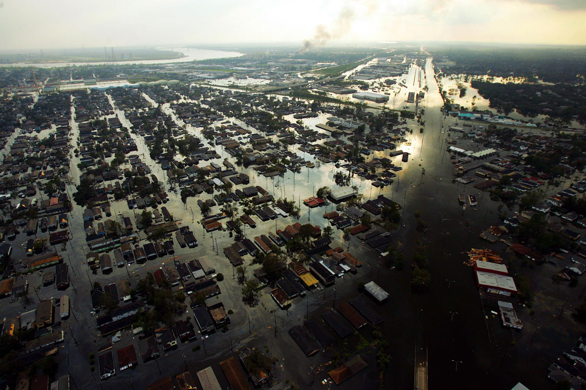 Flooding in New Orleans the day after Hurricane Katrina made landfall.