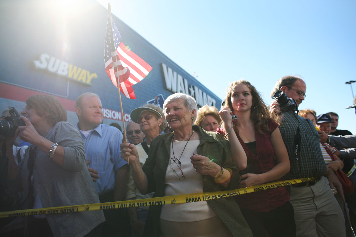 Supporters of Republican Vice Presidential candidate, Alaska Gov. Sarah Palin wait for the her outside a wallmart in Virginia Beach, VA on Thursday, October 16, 2008, where she was campaigning as the running mate of GOP presidential candidate John McCain. Mrs. Palin bursted onto the national political scene from relative obscurity as Governor of Alaska after she was picked by Mr. McCain to be  his running mate.