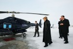 Former First Lady Hillary Clinton walks to a helicopter in Waterloo, IA on Jan. 19, 2007, en route to her fifth campaign stop of the day as she continued her quest to capture the Democratic presidential candidacy against then-Senator Barack Obama.