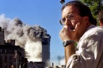 A man reacts to the collapse of the South Tower of the World Trade Center.
