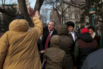 New York City Mayor Bill de Blasio and his family, including his son Dante and daughter Chiara are greeted outside City Hall in New York as they arrive for Mr. de Blasio\'s inauguration as the 109th Mayor of New York City on Wednesday, January 1, 2014.
