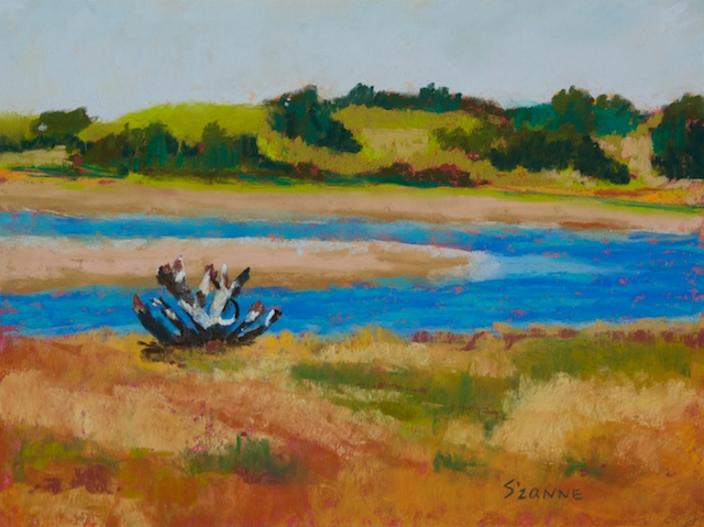 9 x 12{quote} pastel © S'zanne ReynoldsPrivate Collection in Elgin, TXOregon has such a diverse and magnificent coast line. Passing through one town, I stopped for coffee and saw this vista just off the road.