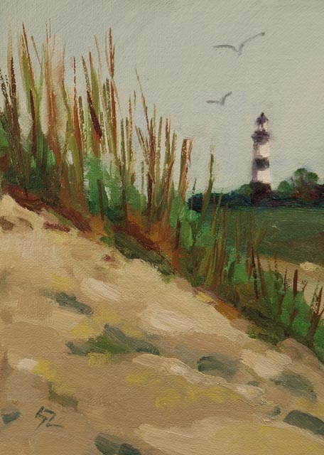 "5 x 7"" oil on linen © S'zanne ReynoldsPrivate Collection in Elgin, TXIt was so strange to come upon a fond childhood memory and historical marker that had been moved inland to protect this formerly active coastal lighthouse of Bodie, NC. Although it's now retired, it hasn't lost any of its charm in its new landlocked local."