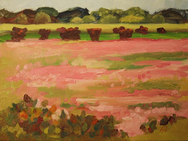 9 x 12{quote} oil on linenThe primroses made the Fredericksburg fields smile with pink! Fredericksburg, TXCollection of the Artist