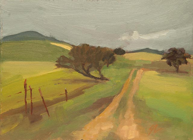 6x8{quote} oil, plein air© S'zanne ReynoldsPrivate Collection of the ArtistWonderful foggy day in Comfort, TX with the sunshine going in and out of the clouds.