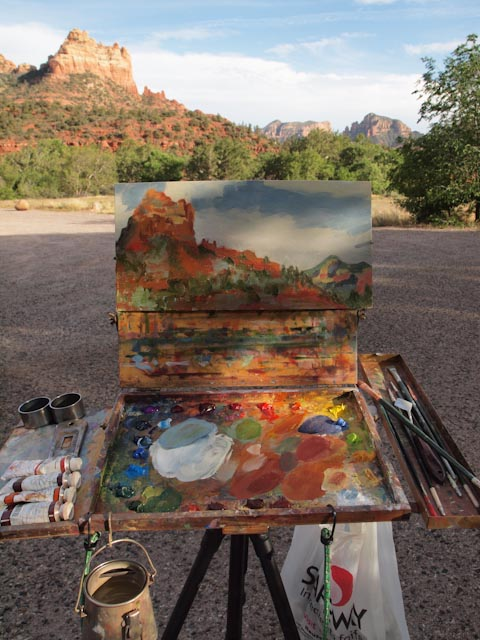 Here's the view as I painted the red rocks named after Snoopy