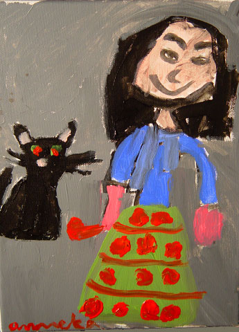 Acrylic by Anneka, age 7After practicing spacial elements and value studies, kids enjoy painting their portrait with their favorite family pet.