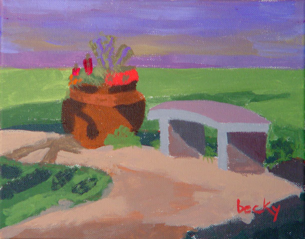 Acrylic by BeckyIn landscape workshops, students learn to paint {quote}en plein aire{quote}--working from subjects outdoors.