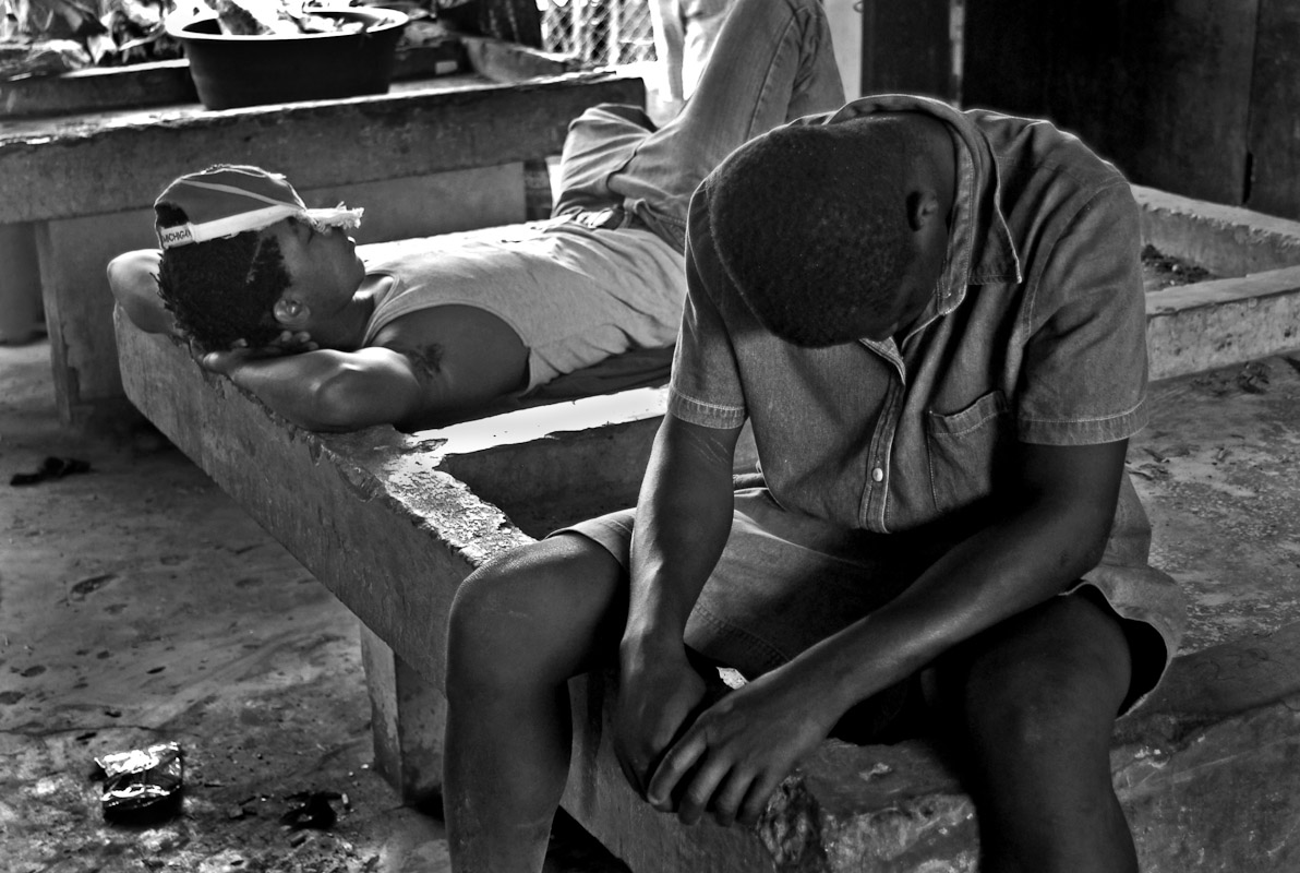 Haitian day laborers resting after a long days work in Dajabon.