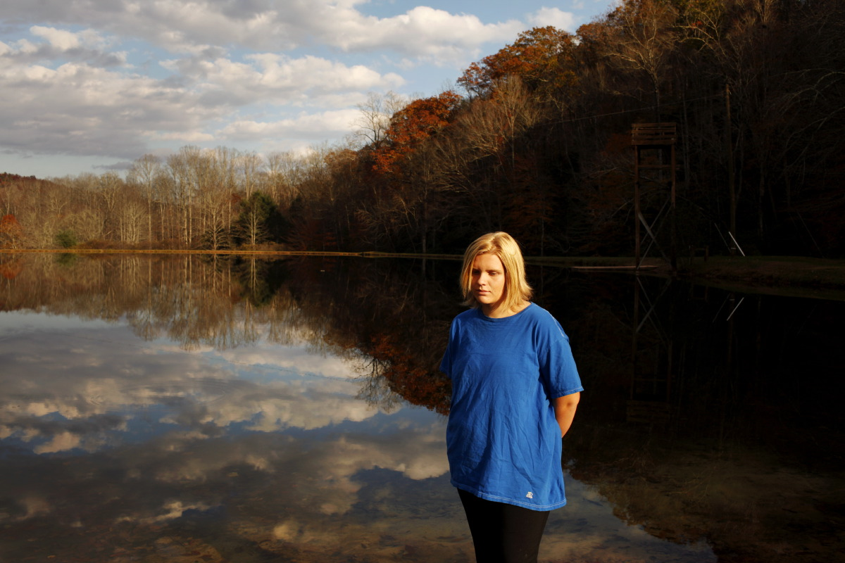 10/31/2011 *** Brevard, NCHaley Humphrey, 15, of Athens, AL, poses by the lake.Located in the mountains of North Carolina, Wellspring Academy is a boarding school for overweight children and young adults.  In addition to their regular classes, students learn to control their weight through a healthy diet, physical activity, and counseling.  (Travis Dove for NPR)