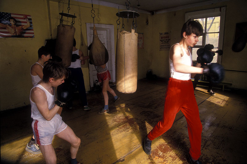 Shot on assignment for SMITHSONIAN Magazine.  While shooting a story on the Kamchatka Penninsula of the Russian far east I visited a boxing gym in Petropavlosk where young boxers trained under the watchful eye of {quote}Rocky Balboa{quote} .  Yo Svetlana!