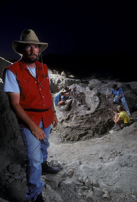 Shot on assignment for TIME magazine.  Dr. Jack Horner of Montana State University at the site of his most famous discovery, a fully intact Tyranasaurus Rex affectionately named {quote}Sue{quote}.