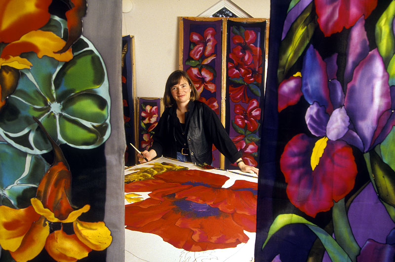 Shot  on assignment for SUNSET magazine.Portrait of a San Juan Island artist who paints floral designs on silk.