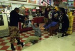 The crew filming the dramatic finale at a convenience store in East Austin.