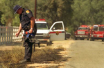 CalFire Captain Dan Eddleman looks for clues to the cause of a 20 acre fire on Berryessa-Knoxville Road in Napa County, California.