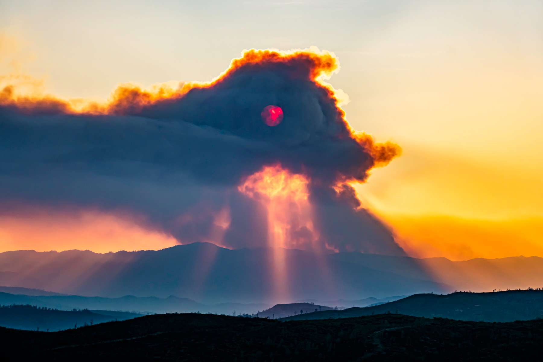 Sunset on the Kincade Fire in Sonoma County, California.