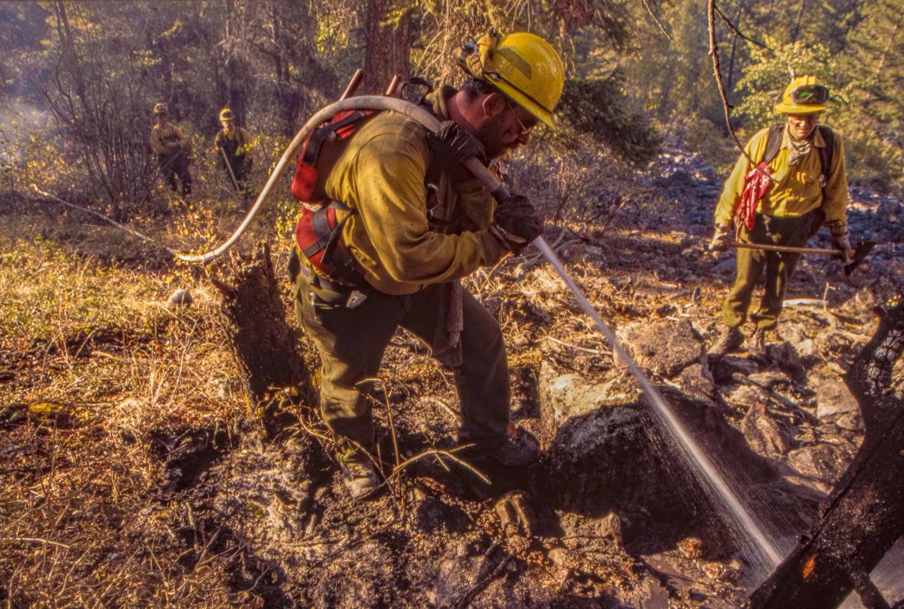 Firefighters mop up on the Bear Fire near Hamilton, Montana.