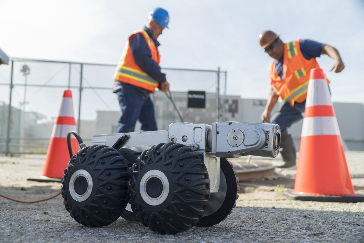 Todd Mays, Plumbing Service Supervisor, Carlos Vega, safety coordinator, Envirosight RX130 Crawler, San Jose, CA