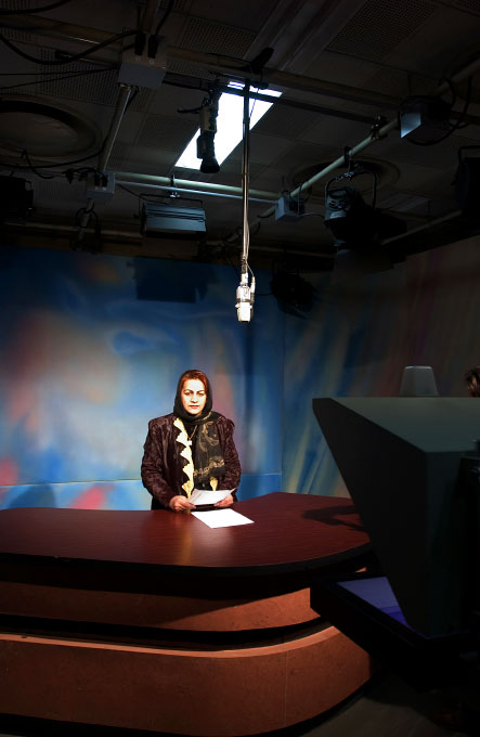 Jamila Mujahed, Afghan Anchor Woman, at the Afghan Television and Radio station in Kabul, Afghanistan.  Jamila also works as the Editor for Malalai, a women's magazine in Afghanistan.