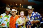 American gypsy groom and his best men at a Hawiian themed wedding party in Queens, NY.