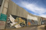 Palestinian grafitti on the concrete wall separating Israel and the West Bank city of Bethlehem